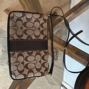 Brown and cream Coach bag